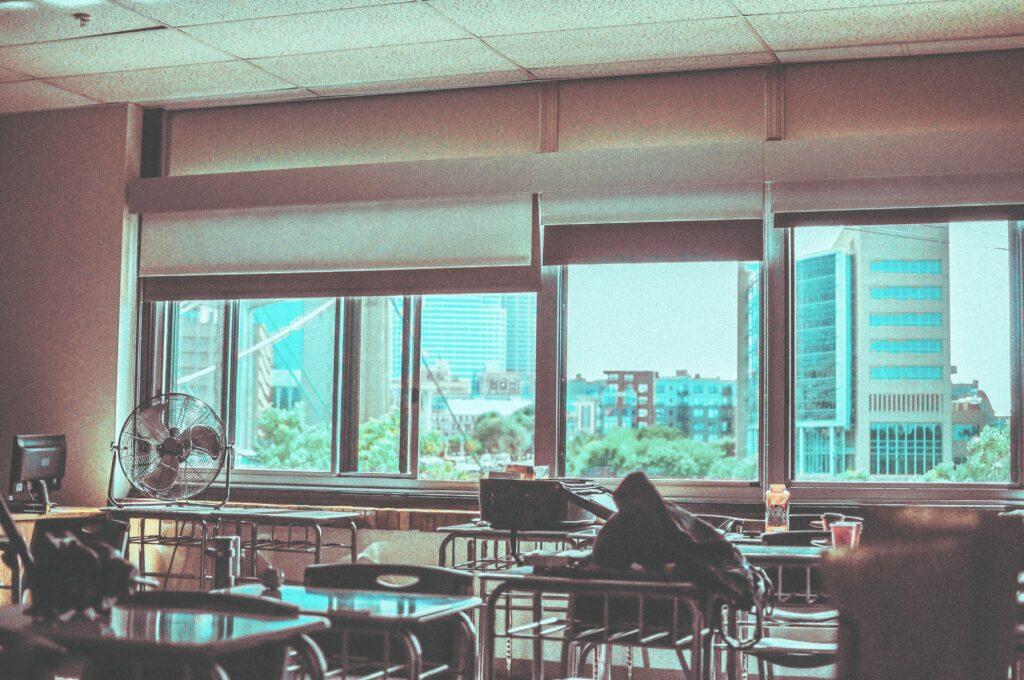 Empty High School Classroom: Closed SAT Testing Center